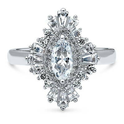 BERRICLE Sterling Silver Marquise Cut CZ Halo Art Deco Engagement Ring 1.2 CTW