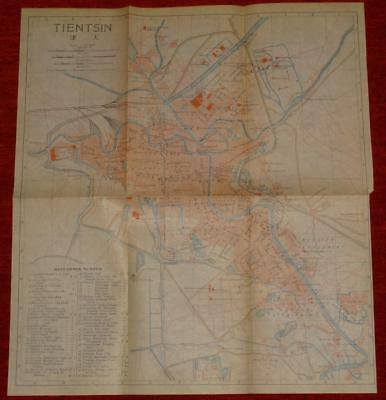 1915 IMPERIAL JAPANESE RAILWAY MAP of TIENTSIN CHINA