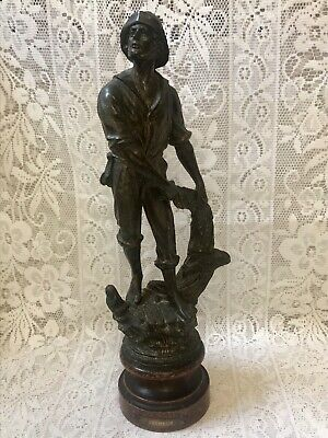 Antique French Signed Bronze Spelter Pecheur Fisherman Figure Sculpture 15""