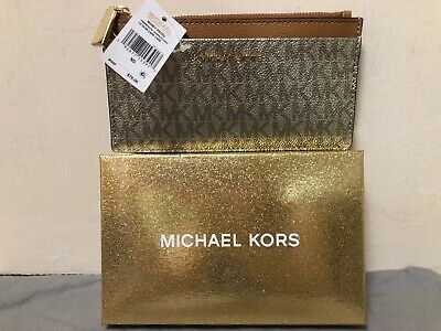 b91bb2e6311799 Nwt Michael Kors Money Pieces Gold Large Slim Card Case Wallet 34H8Mf6D7B  New