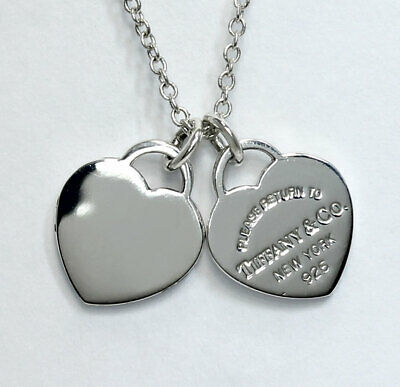 adffd13458620 TIFFANY & CO Return to Tiffany double heart tag pendant necklace sterling  silver