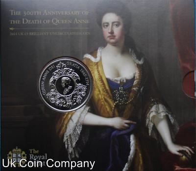 2014 Death Of Queen Anne Brilliant Uncirculated Royal Mint £5 Coin Pack