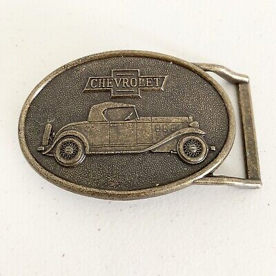 Chevrolet Belt Buckle Chevy Car Automobile RJR Brass Color Vintage Michigan