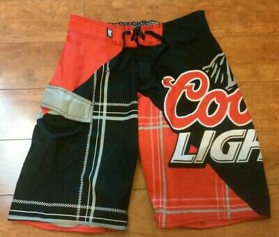 c671a72514 COORS LIGHT SWIM Trunks Lite Beer Red Black Board Shorts Mens Size ...