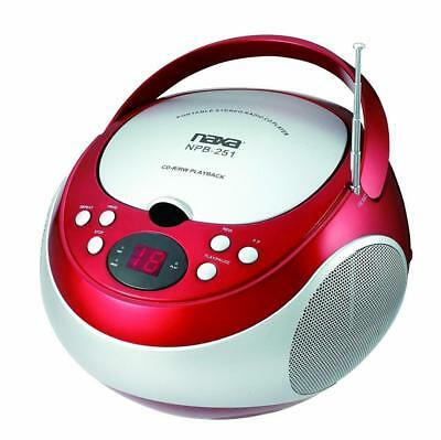 NAXA Electronics NPB-251BU Portable CD Player with AM/FM Stereo Radio Red