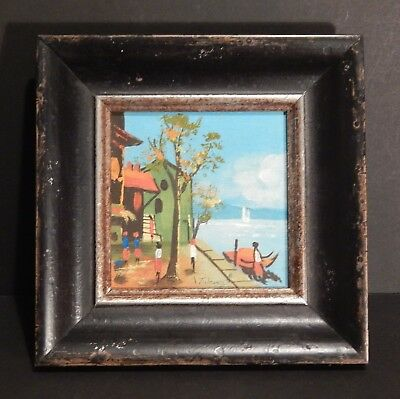 Original Miniature Oil Painting on Board Seafront View by T. Jones