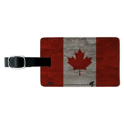 Rustic Distressed Canada Flag on Wood Rectangle Leather Luggage Card ID Tag