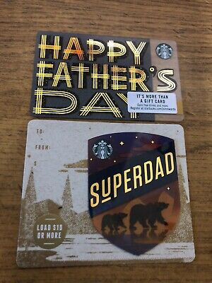 2 New Starbucks 2019 Us Fathers Day Gift Cards Die Cut Limited 6166