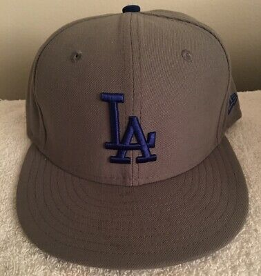 info for a54f3 74cf5 Los Angeles Dodgers Fitted New Era 59FIFTY Grey Blue Tri Cap Hat