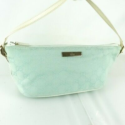 87d3c2f08d2724 Auth GUCCI Leather Accessory Pouch Cosmetic Pouch Purse Light Blue White