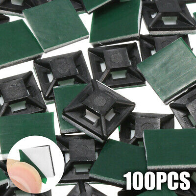 100pcs Square Self Adhesive Cable Tie Base Mounts Bases Sticky Socket 12.5mm US