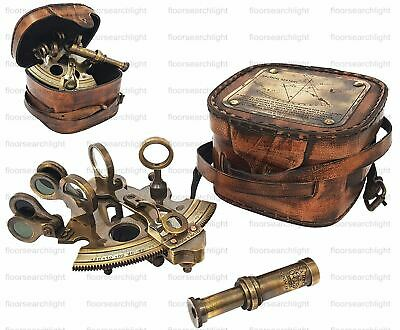 "kelvin & hughes london 1917 Brass Sextant 4"" W/leather Box Antique Handmade Gift"