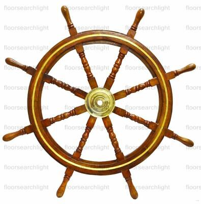 "Nautical 36"" Wooden Ship Wheel Steering Brass Ring Wall Antique Vintage Decor"