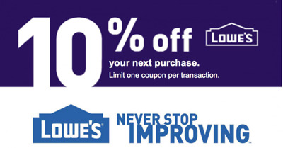 One 1x Lowes 10% OFF 1Coupon-InStore and Online -Fast-Delivery---