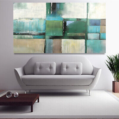 Hand Painted Abstract Art Canvas Oil Painting Home Decor Framed Color Block