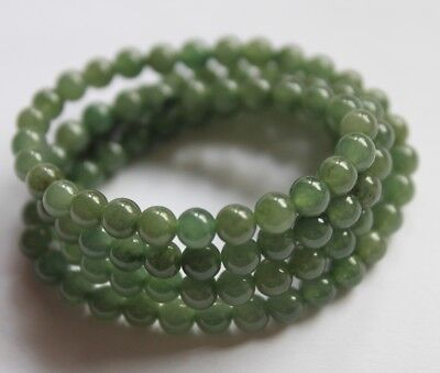 Certified Grade A Natural Icy Green Jade Jadeite Small Beaded Necklace NY05050