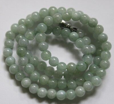 6mm  CERTIFIED Natural (A) Icy Light Green Jadeite JADE Small Bead Necklace 20""
