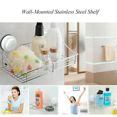 Stainless Steel Shelf Shower Basket Bathroom Wall Mounted Storage Racks Adhesive