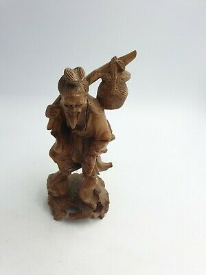 Vintage Chinese Wooden Hand Carved Fisherman Old Man W/Fish Figurine Ornament