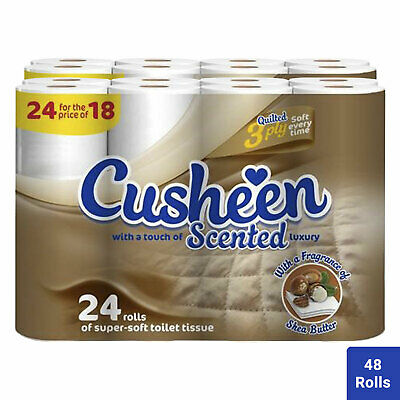 48 Rolls Cusheen Quilted Shea Butter 3 Ply Toilet Paper