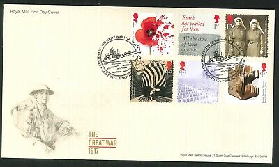 2017 - Great War 1917 FDC - Southsea, Portsmouth Pmk - Sent Post Free
