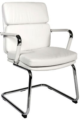 DECO White Retro 'Eames' Style Cantilever Framed Visitor Office Visitors Chair