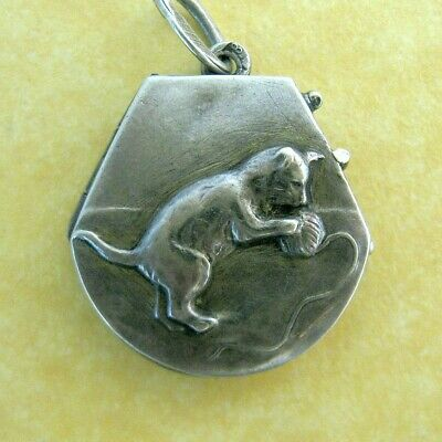 Antique German Art Nouveau 800 Silver Cat Ball of Yarn Locket Pendant Charm