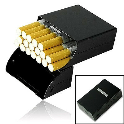 Black Aluminum Metal Cigar Cigarette Box Holder Storage Case  Gift New