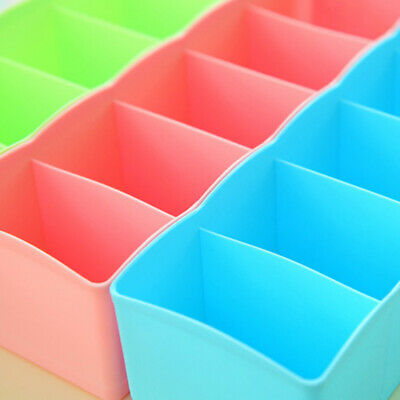 5 Cells Plastic Storage Box Tie Bra Socks Underwear Drawer Stationery Divider