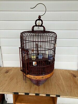 Vintage Chinese Hand Carved Bamboo Wooden Bird Cage W/ 4 Porcelain Dishes