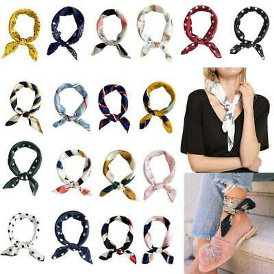 Women Elegant Square Silk Feel Satin Scarf Small Head-Neck Holiday Hair Tie Band