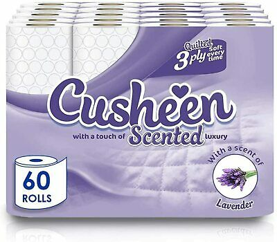 60 Rolls Cusheen Quilted Lavender 3 Ply Toilet Paper