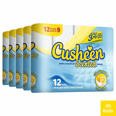 60 Rolls Cusheen Quilted Lemon 3 Ply Toilet Paper