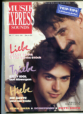 MUSIK EXPRESS Sounds  7 / 1988 :  Frank ZAPPA   Die Ärzte   BILLY IDOL