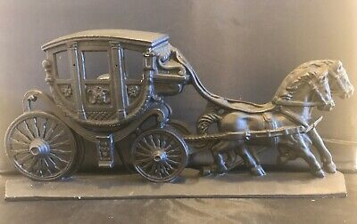 Rare Antique Hubley Large Cast Iron Horse Drawn Carriage/Stagecoach Door Stop