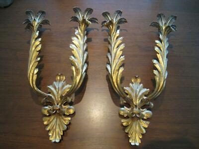 Pair Florentine Silver/Gold Gilt Wall Sconces Candle or Electric Retrofit 18 1/2