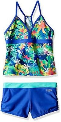 8547a1d537 Speedo Kids Jungle Floral Boyshort Tankini Set Girl's size 14 Dark Peri  #9483