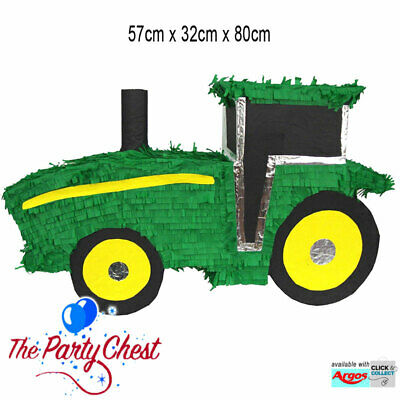 57CM GREEN TRACTOR PINATA Kids Birthday Game Farmyard Party Decoration 775E