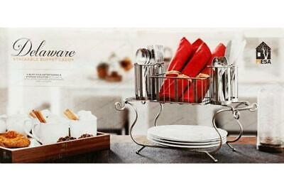 MESA Delaware Stackable Buffet Caddy Dinner Plate & Cutlery Holder Partyware