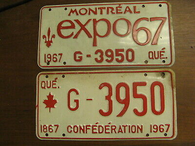 1967 67 Quebec Pq License Plate Montreal Expo Pair G-3950