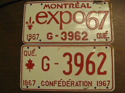 1967 67 Quebec Pq License Plate Montreal Expo Pair G-3962