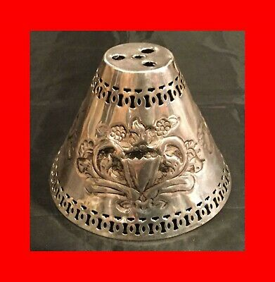 ☆Exc Antique Vintage Silver Plated Pierced Stamped Repousse Lamp Shade Lampshade