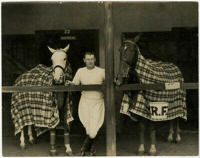 Vintage 1920s/30s Russell Ball Photograph Jockey with Horses at Stables