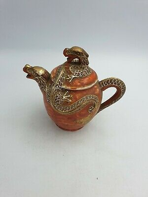 Vtg Japanese Satsuma Dragon Shape Porcelain Tea Pot Hand Painted Raised Red Gold