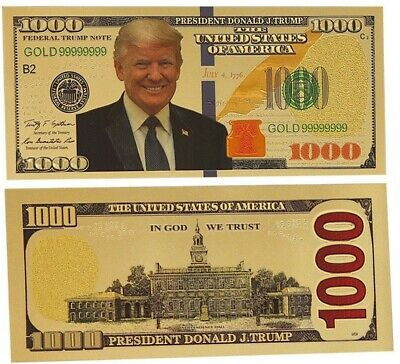 GOLD US DONALD TRUMP $1000 Republican Vote 2020 Gift Collection USA Novelty Note