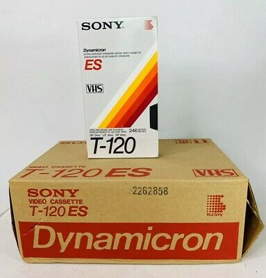Brand New Box of 10 Sony ES- T120  Dynamicron Extra Superior Blank Video Tapes