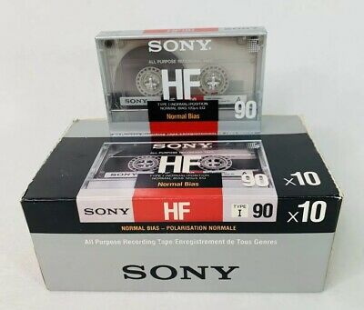 Brand New Box of (10) Sony HF 90A Normal Bias Blank Cassette Tapes SEALED!