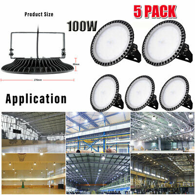 5X Ultra-Thin 100W UFO LED High Bay Light Commercial Industrial Lamps Day White