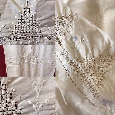 "Beautiful Antique French Silk Hand Embroidered Soiled Panel 30""/70""Reworking"