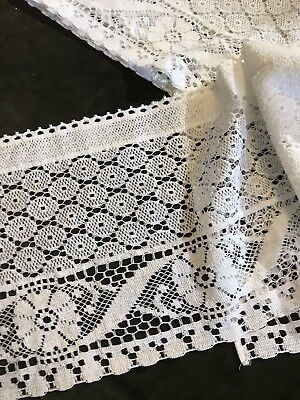 "Laura Ashley Vintage style cotton lace curtain panel 11""x72""Valance Readymade"